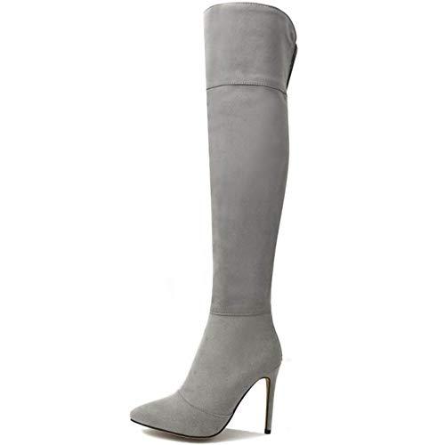 Bottes Femmes Cuissardes Talon Aiguille Gray Chaussures Cavalières Sexy Taoffen Haut gUqA5w1Wa