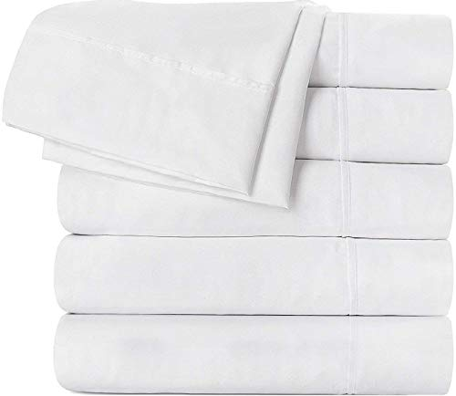Utopia Bedding Flat Sheet 24 Pack (Queen, White) Brushed Microfiber - Soft, Breathable, Iron Easy, Wrinkle, Fade Stain Resistant - Hotel Quality