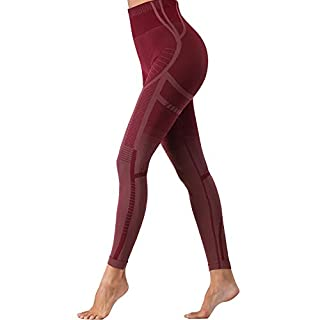 Helisopus Women's High Waisted Workout Compression Yoga Leggings Contouring Seamless Athletic Running Legging Pants Red Marl