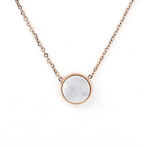 Designer Geometric Necklace (Contemporary Rose Tone Designer Necklace with Petite Arctic White Faux Mother-of-Pearl Circular Geometric Pendant)