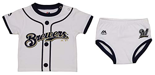 Majestic MLB Newborn (0M-9M) Milwaukee Brewers Little Player Tee and Diaper Set, White/Navy 6-9 Months