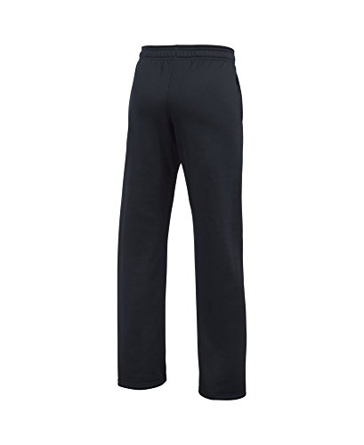 Under Armour Boys' Storm Armour Fleece Big Logo Pants, Black (006)/Steel, Youth X-Large by Under Armour (Image #1)