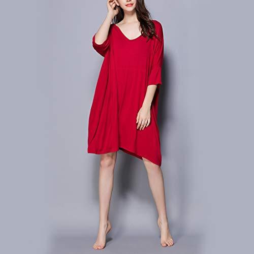 shirt scollo V Abito JUNFELICIA da Camicia Size pigiameria notte Size Red Allattamento donna L T Plus Color seno a allattamento Red al Allentato IwYA5
