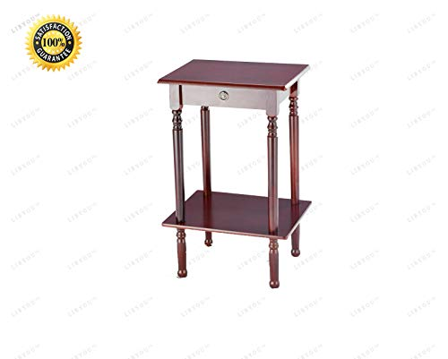 LIBYOU_Telephone Stand Table,Wood Tall end Table,Wood Side Table,End Table,Telephone Stand Table, Accent Furniture,Sofa Side Table,End Accent Table,Table for Living Room