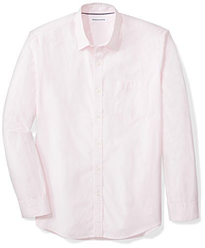 Amazon Essentials Men's Regular-Fit Long-Sleeve Solid Casual Poplin Shirt, Pink, Medium (Long Sleeve Button Pink)
