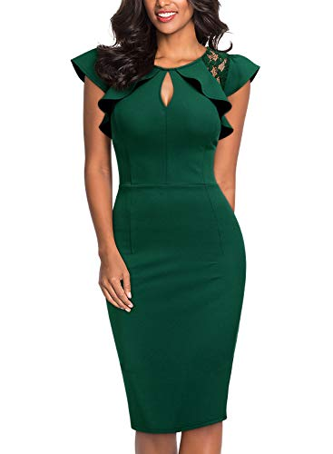 Knitee Women's Ruffle Trimmed Lace Floral Sleeveless Cut Out Bodycon Cocktail Sheath Dress,Large,Dark Green