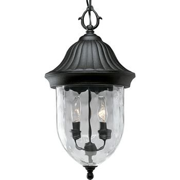 - Progress Lighting P5529-31 1-Light Chain Hung Lantern with Optic Hammered Clear Glass to Complement The New Fieldstone Finish, Textured Black