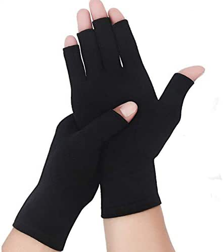 Arthritis Compression Rheumatoid Gloves,Fingerless Gloves to Relieve Paim from Rheumatoid and Osteoarthritis with Free Recovery Ball, Men and Women (Black`, Large)