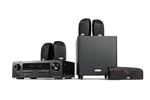 Polk Audio Blackstone TL1600 5.1 Channel Compact Home Theater System with Denon AVR-S540BT Receiver | 7 Items – 4 TL1 Satellite Speakers, 1 Center Channel, 8″ Powered Subwoofer & AVR | Bass Port