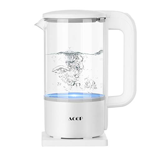 Electric Kettle, 1.2L Glass Electric Tea Kettle, 1000W Water Kettle with LED Light, BPA Free Cordless Water Boiler with Stainless Steel Inner Lid and Bottom, Auto Shut-Off & Boil Dry Protection, White