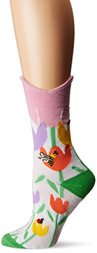 (K. Bell Women's Wide Mouth Leg Eating Novelty Casual Crew Socks, Tulip (White), Shoe Size: 4-10)