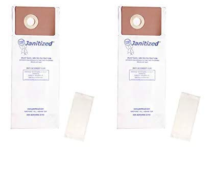 Janitized JAN-ADVU500-2(10) Advance VU500 Premium Replacement Commercial Vacuum Paper Bag, Includes 2 Pre Filters (Pack of 10) (Twо Расk) by Janitized