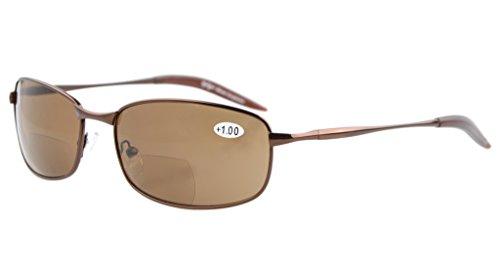 Eyekepper Metal Frame Fishing Golf Cycling Flying Outdoor Bifocal Sunglasses Brown +2.0