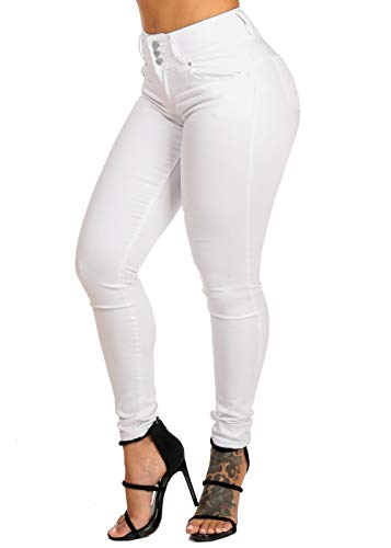 ModaXpressOnline High Rise Butt Lifting 3 Button Solid White Skinny Jeans 10882R