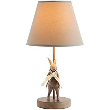Rabbit table lamp white amazon creative co op da6759 cottage brown metal resin rabbit shaped table lamp with cotton aloadofball Choice Image