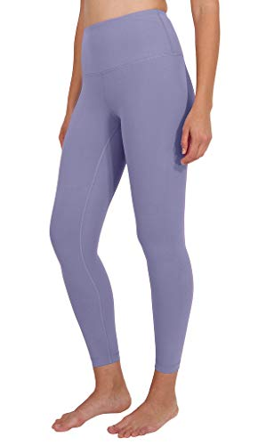 90 Degree By Reflex Ankle Length High Waist Power Flex Leggings - 7/8 Tummy Control Yoga Pants - Lilac Mist - Medium