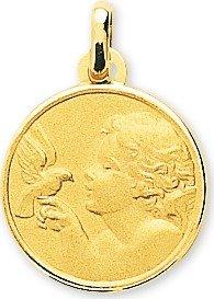www.diamants-perles.com - Médaille Baptème - Médaille religieuse - Ange - Ronde - Or Jaune - 375/1000