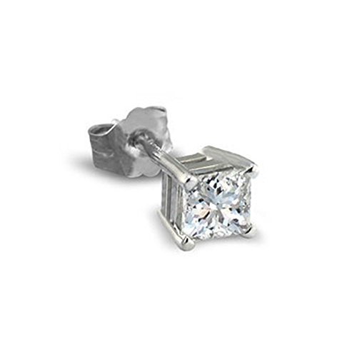 PARIKHS Princess Single Diamond Stud Promo Quality in White Gold (0.05 ctw) 0.05 Ct Single