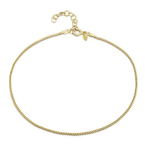 18K Gold Plated on 925 Fine Sterling Silver 1.5 mm Adjustable Anklet - Curb Chain Ankle Bracelet - 9