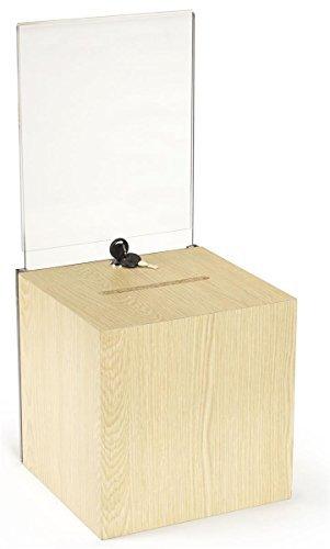 Boleta de madera Buzón de Sugerencias Caja con cerradura de la llave, 8,5