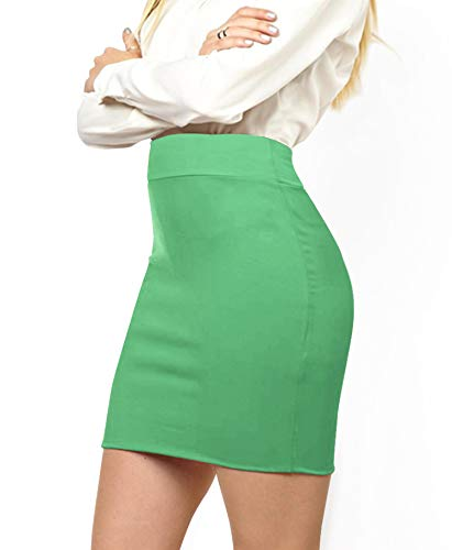 (MBJ WB2141 Women's Elastic Waist Stretch Bodycon Midi Pencil Skirt Above The Knee Length Classic Skirt L Mint )