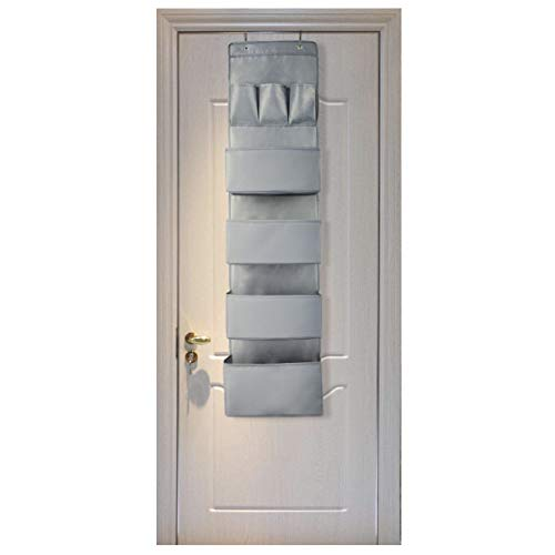 Aibrisk Over The Door Organizer Over The Door Wall Mount Hanging Organizer Oxford Cloth, Gray