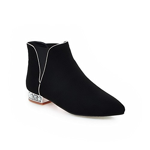 Women's Frosted Pull On Pointed Closed Toe Low Heels Low Top Boots