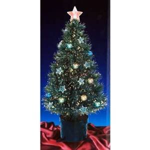 32 Inch Green Christmas Tree With Fibre Optics And Stars And Baubles
