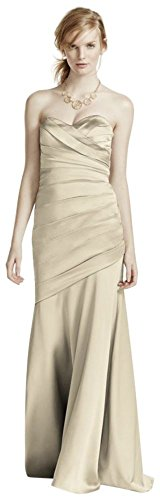 Long Strapless Stretch Satin Bridesmaid Dress Style F15586 – 24 Plus, Champagne