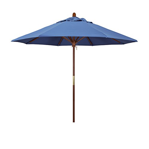 California Umbrella 9' Round Hardwood Frame Market Umbrella, Stainless Steel Hardware, Push Open, Pacifica Capri