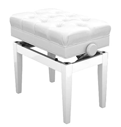 Symphony Adjustable Cushion Seat Piano Bench with Storage (Pearl White) 1to1Music FS311PWH