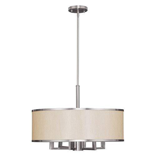 Brushed Nickel Drum Pendant Lighting in US - 7