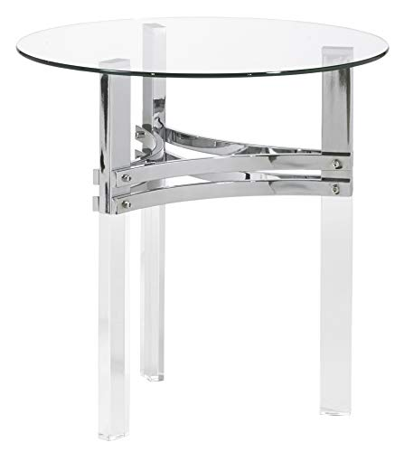 Signature Design by Ashley - Braddoni Round End Table, Chrome Finish