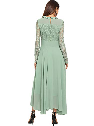 Flowy Long Women's Neck Vintage Ruched Long Green Lace Milumia Dress Sleeve Floral 3 8zwBBqAx