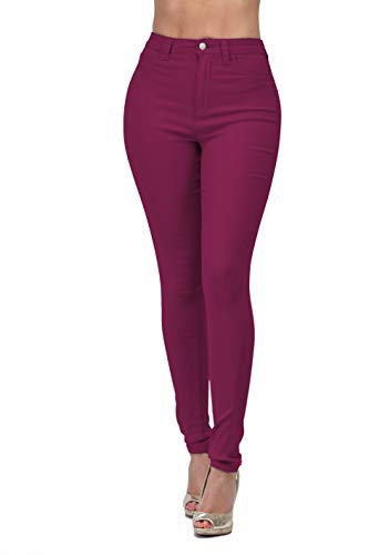 LOVER BRAND FASHION High Waisted-Rise Ladies Colored Denim Stretch Skinny Destroyed Ripped Distressed Jeans for Women (M, Burgundy)