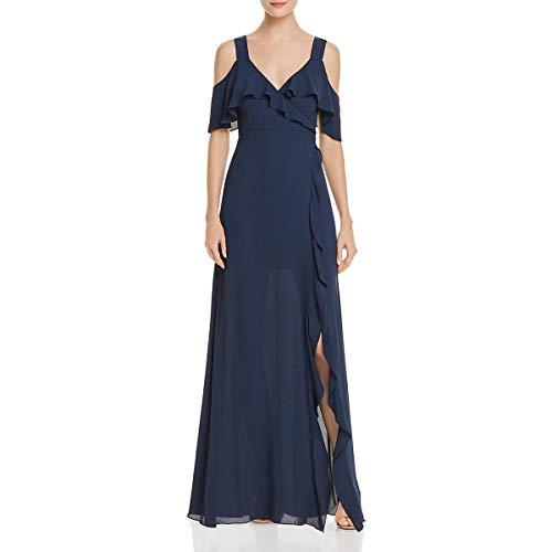 BCBG Max Azria Womens Charley Cold Shoulder V-Neck Evening Dress Navy 4
