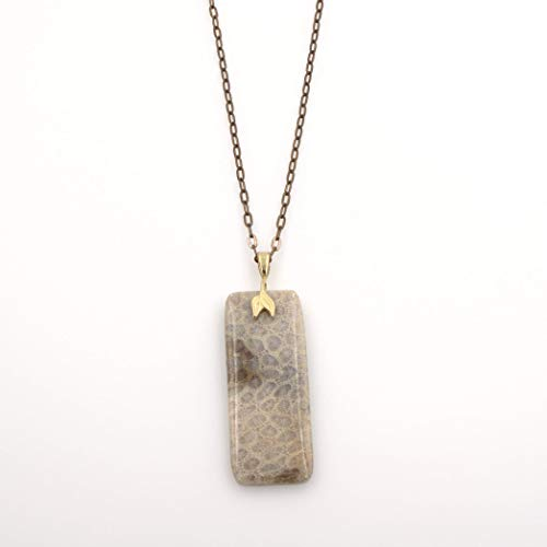 Fossil Jasper Gemstone Rectangular Pendant Necklace - Double Leaf, Antique Brass Chain 2.25&24-in