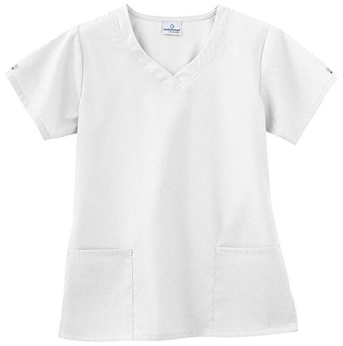 (White Swan Uniforms White Overlap V-Neck Scrub)