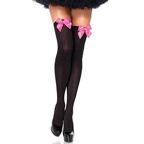 Sexy Satin Bow - Leg Avenue Womens Satin Bow Accent Thigh Highs