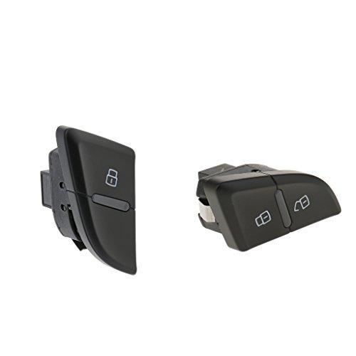 Homyl 2 Pieces Car Door Lock Switch for Audi A4 A4L B8 8K0962108A+8K1962107A Black