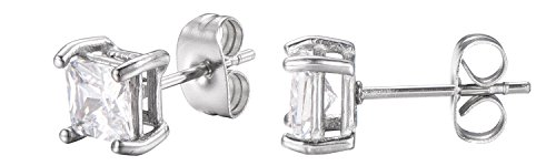 cess Cut White Cubic Zirconia Stud Earrings With Push Backings -5mm- By Regetta Jewelry ()
