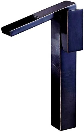 滝スパウトシングルハンドル浴室の流しの蛇口オイルブロンズバニティベッセルトイレミキサータップデッキマウントサプライホース、高さ30.5cm