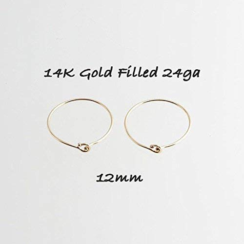 Tiny Hoop Earrings, Cartilage Gold, Tragus Gold tiny Hoops, Handmade Hoops, Small and thin Earlobes, Gift for Her, 12mm ()