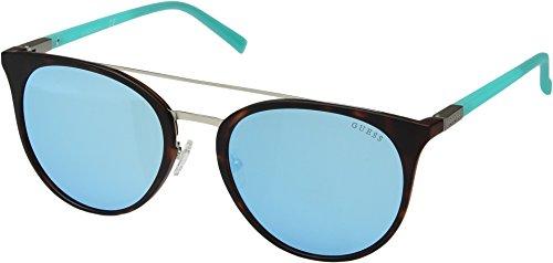 GUESS Gu3021 Wayfarer Sunglasses, dark havana & smoke mirror, 56 ()
