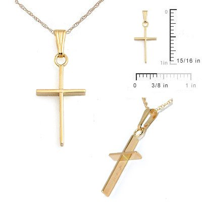 Children Jewelry - 15 In 14 Yellow Gold Cross Necklace For Boys And Girls