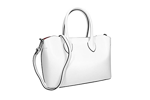 Borsa donna a mano con tracolla PIERRE CARDIN bianca pelle Made in Italy VN1161