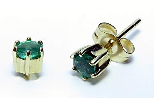 14K Gold 6 prong round Fine Gemstone Stud Earrings
