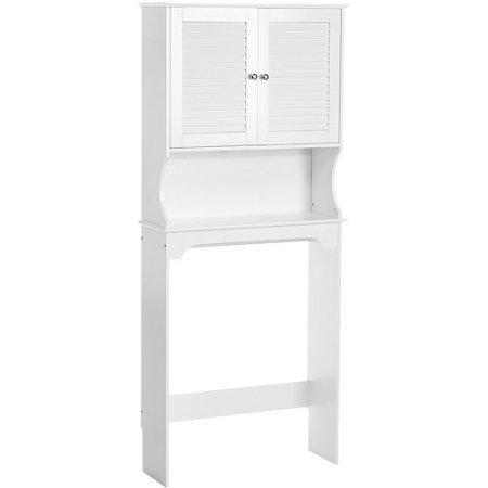 Traditional Spacesaver Over The Toilet, White Open Shelf is Ideal for Storage or Display One Fixed Storage Shelf Inside The Cabinet Painted Wood Durably Constructed by AVA Furniture