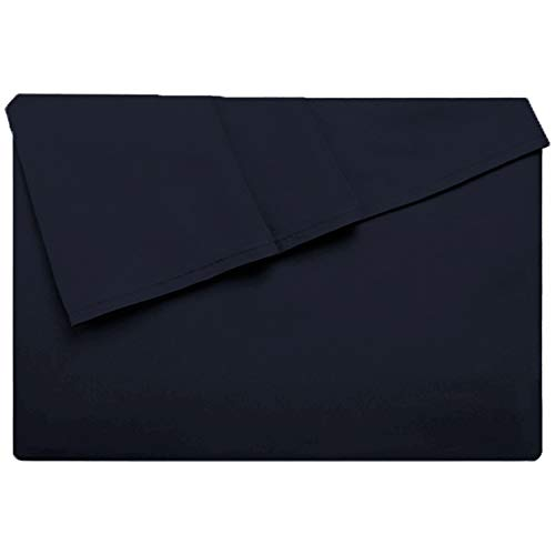 (LiveComfort Flat Sheet, Queen Size Extra Soft Brushed Microfiber Flat Sheet, Machine Washable Wrinkle-Free Breathable (Navy Blue, Queen))