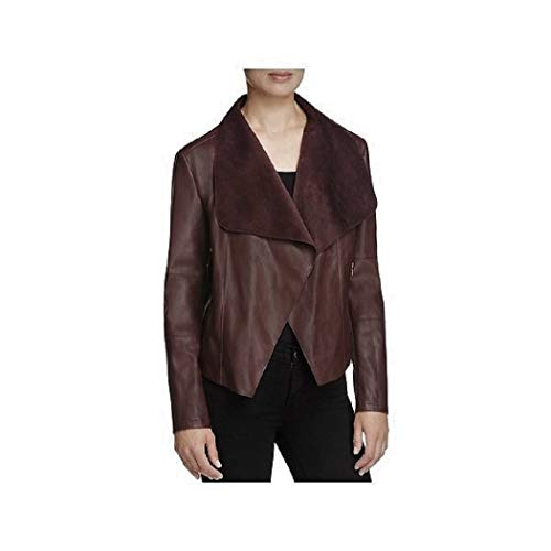 Bagatelle Long-Sleeve Faux-Leather Draped Jacket (Small, Wine)